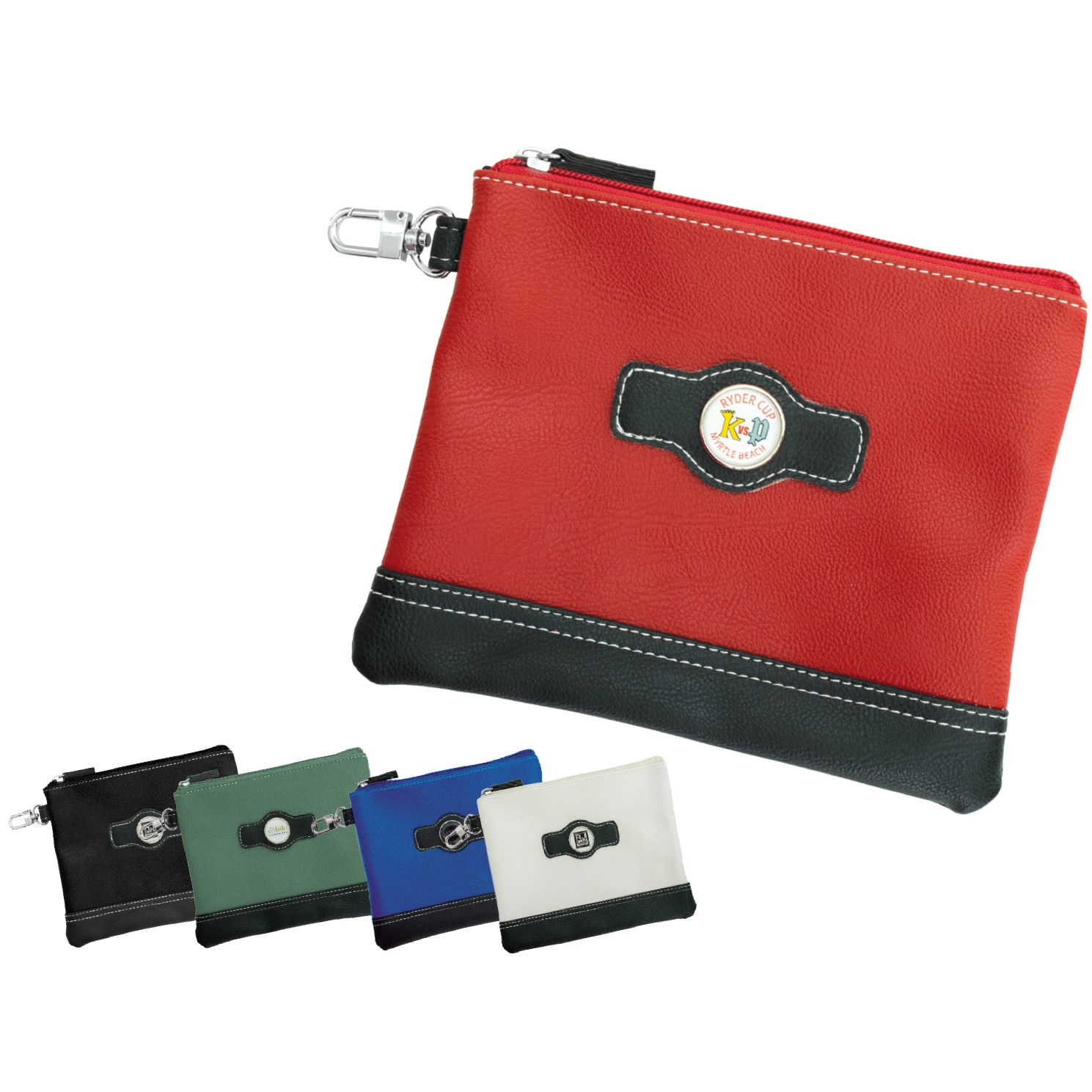 Leatherette Domed Zippered Valuables Pouches